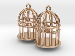 Bird Cage Earrings in 14k Rose Gold Plated Brass