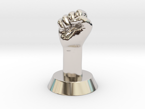 Revolution Fist in Rhodium Plated Brass