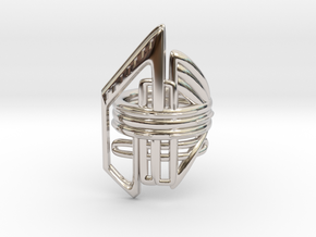 Balem's Ring2 - US-Size 6 1/2 (16.92 mm) in Rhodium Plated Brass