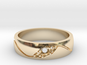 3 Stone Wedding Band in 14K Yellow Gold