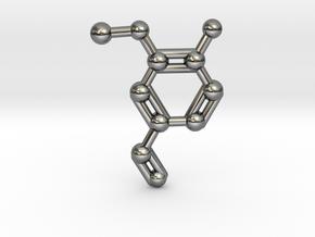Vanillin (Vanilla) Molecule Necklace Keychain in Fine Detail Polished Silver