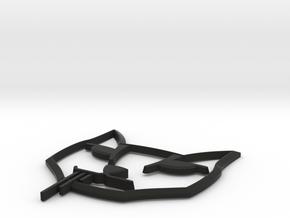 Stalker Cat Badge, Hood Curved in Black Natural Versatile Plastic