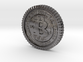 Bitcoin high detail in Polished Nickel Steel