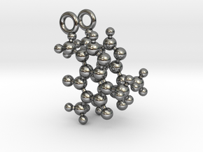 Caffeine 3D molecule for earrings in Fine Detail Polished Silver