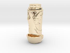 H.E.L.Per Robot Head Pendent  in 14k Gold Plated Brass: Medium
