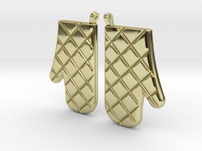 Oven Mitt Earrings in 18k Gold Plated Brass