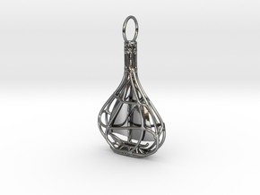 Ship In A Bottle Pendant  in Fine Detail Polished Silver