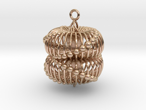 Double Torus Pendant 40 in 14k Rose Gold Plated Brass