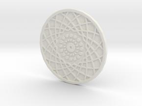 Coaster Geometric Arcs 1 in White Natural Versatile Plastic