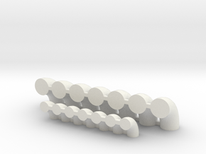 "'N Scale' - (7)20"" & (7)12"" Elbows in White Natural Versatile Plastic"