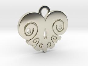 BoneHeart Pendant. in 14k White Gold