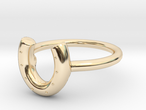 Horse Shoe Ring in 14k Gold Plated Brass