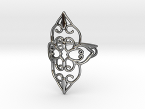 Bloom - size 7 in Fine Detail Polished Silver
