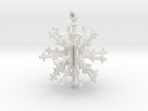 3D Snowflake Ornament in White Strong & Flexible