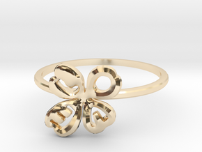 Clover Ring Size US 6 (16.5mm) in 14k Gold Plated Brass