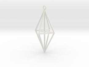 Geo0003 Jewel Vertical in White Natural Versatile Plastic