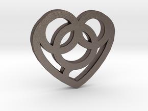 Heart / Corazón in Polished Bronzed Silver Steel