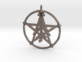 Oak Leaf Pentacle Pendant in Polished Bronzed Silver Steel