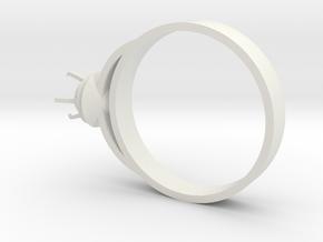Design Ring Ø16.7 Mm For Diamond Ø5 Mm Futuristic  in White Natural Versatile Plastic
