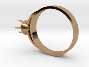 Design Ring Ø16.7 Mm For Diamond Ø5 Mm Futuristic  in Polished Brass
