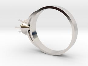 Design Ring Ø16.7 Mm For Diamond Ø5 Mm Futuristic  in Rhodium Plated Brass