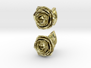 Rose Cufflinks in 18k Gold Plated Brass