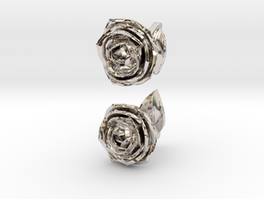 Rose Cufflinks in Rhodium Plated Brass