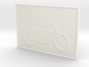 Motorcycle Lithophane 50mm in White Strong & Flexible Polished
