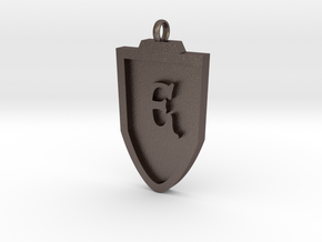 Medieval E Shield Pendant in Polished Bronzed Silver Steel