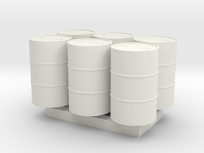 55 Gal Drum - HO 87:1 Scale Qty (6) in White Natural Versatile Plastic