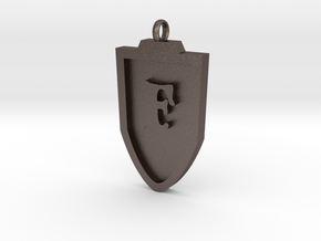 Medieval F Shield Pendant  in Polished Bronzed Silver Steel