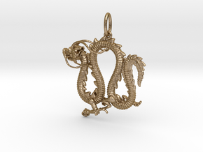 Dragon pendant # 4 in Polished Gold Steel