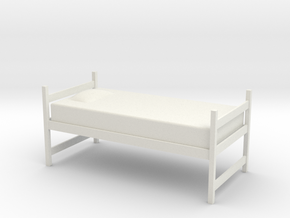 1:24 Twin Dorm Bed in White Natural Versatile Plastic
