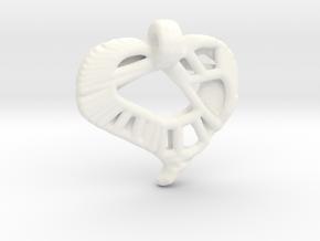 Voronoi Stylized Heart Pendant in White Processed Versatile Plastic