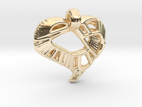 Voronoi Stylized Heart Pendant in 14K Yellow Gold