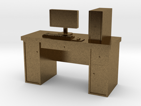 HO scale PC with desk in Natural Bronze