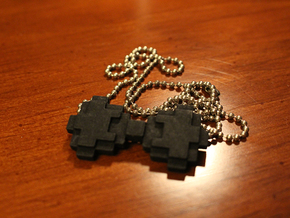 8-bit Bowtie Necklace in Black Natural Versatile Plastic