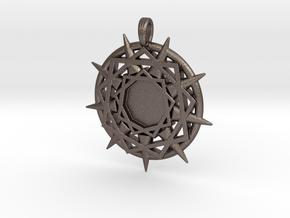 ENNEAGRAM COMPASS in Polished Bronzed Silver Steel