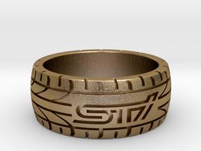 Subaru STI ring - 17 mm (US size 6 1/2) in Polished Gold Steel