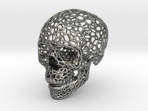 Voronoi Skeletonized Skull in Fine Detail Polished Silver