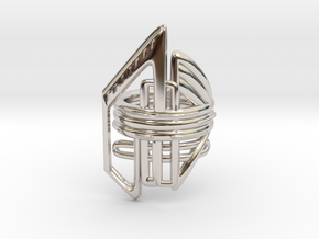 Balem's Ring2 - US-Size 9 1/2 (19.41 mm) in Rhodium Plated Brass