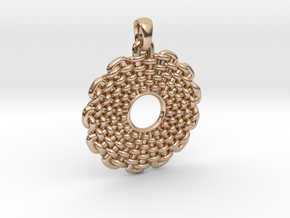 Wicker Pattern Pendant Small in 14k Rose Gold Plated Brass