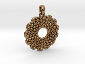 Wicker Pattern Pendant Small in Natural Brass