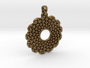 Wicker Pattern Pendant Small in Natural Bronze