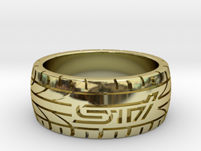 Subaru STI ring - 17 mm (US size 6 1/2) in 18k Gold Plated Brass