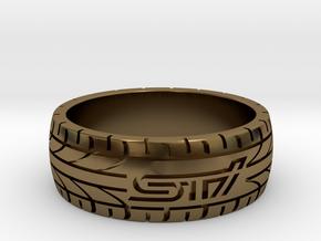 Subaru STI ring - 20 mm (US size 10) in Polished Bronze
