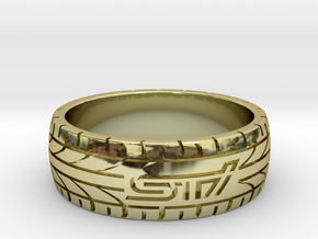 Subaru STI ring - 21 mm (US size 11 1/2) in 18k Gold Plated Brass