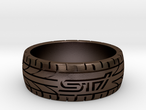 Subaru STI ring - 20 mm (US size 10) in Polished Bronze Steel