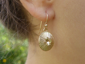 Coccolithus Coccolithophore Plankton Earrings  in Natural Bronze