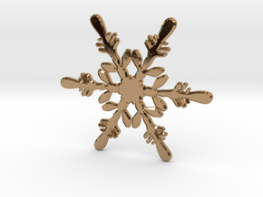 Snowflake - Christmas Tree Ornament (Bauble) in Polished Brass